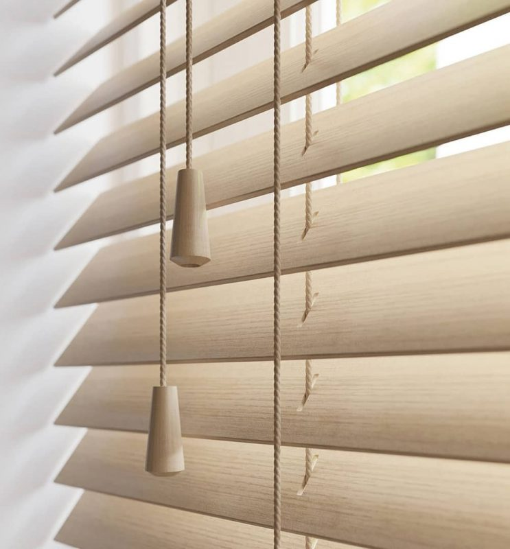 Close-up of a wood venetian blind