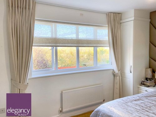 Roman Blind with Curtains - bedroom