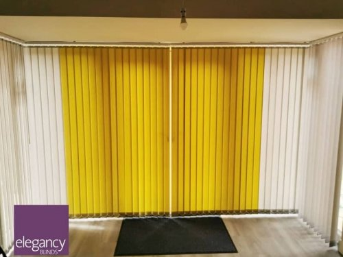 Vertical blinds, two colours, patio door