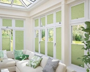 Green venetian blinds in a conservatory