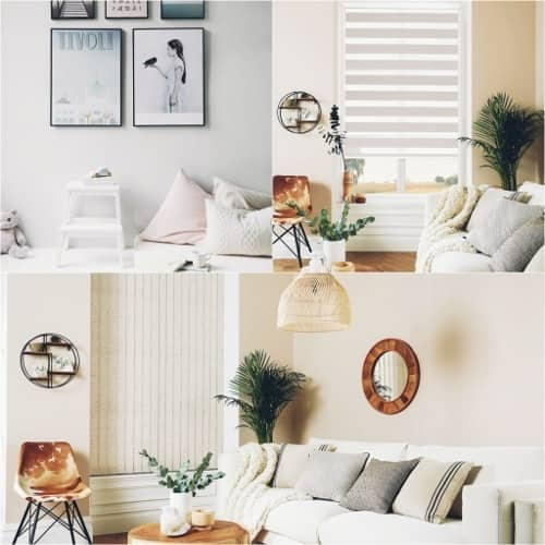 A montage of living room interiors in neutral colours