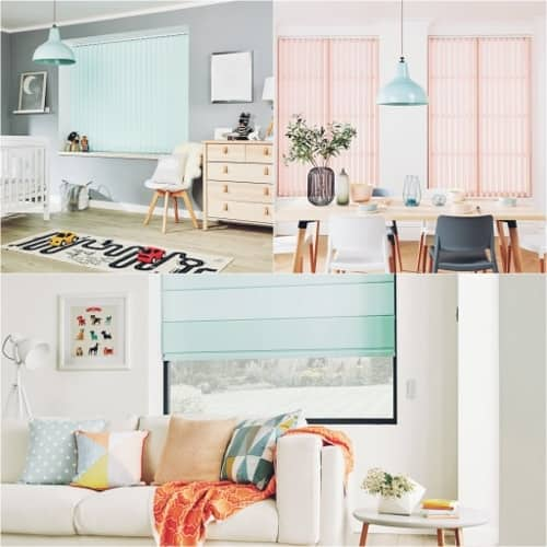 A montage of home interiors in pastel colours