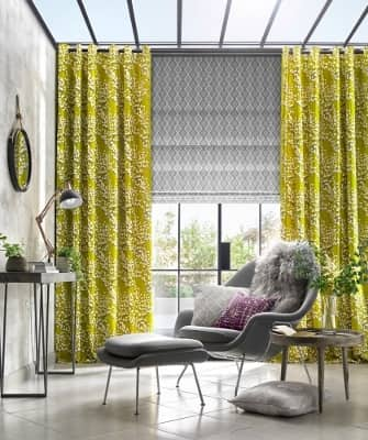 Lime green curtains in a living room